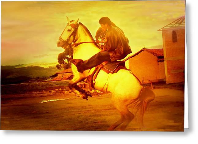 Andean Rearing Horse-cuzco Caballero IIi Greeting Card