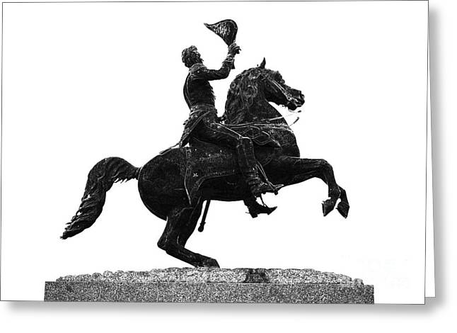 Andrew Jackson Statue Jackson Square French Quarter New Orleans Glowing Edges Digital Art Greeting Card by Shawn O'Brien