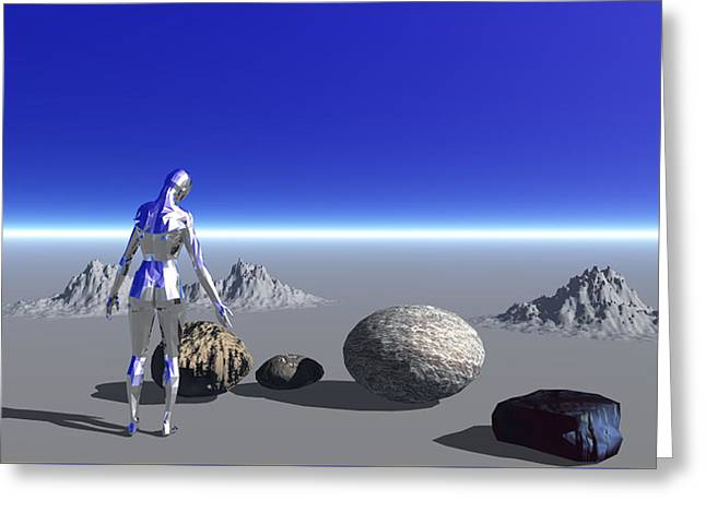 Android On The Blue Planet Greeting Card