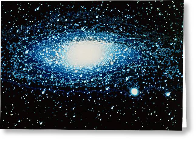 Andromeda Galaxy With Brightness Contour Lines Greeting Card by Laguna Design