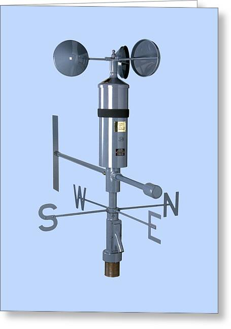 Anemometer And Wind Vane Greeting Card by Paul Rapson