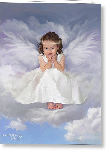 Greeting Card featuring the painting Angel 2 by Rob Corsetti
