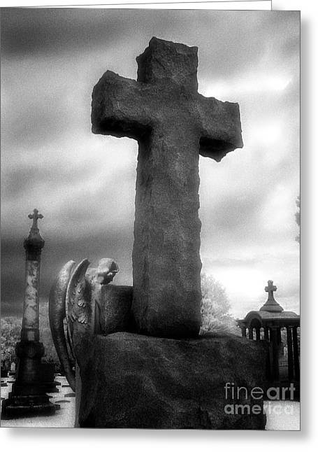 Angel And Cross Greeting Card by Jeff Holbrook