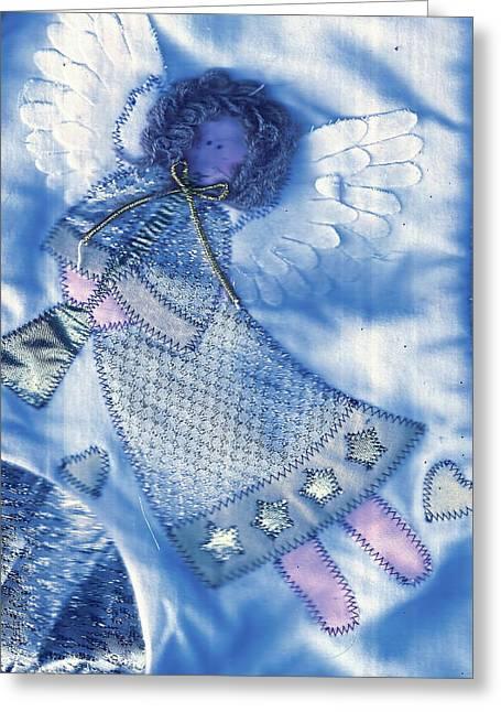 Angel Blue Greeting Card by Anne-Elizabeth Whiteway