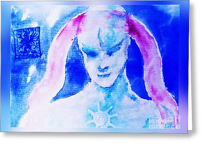 Greeting Card featuring the mixed media Angel Blue by Hartmut Jager
