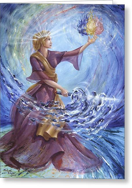 Angel Liberty Greeting Card by Michael Baum