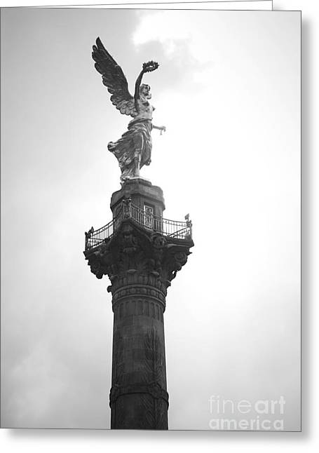 Angel Of Independence Bw Greeting Card by L E Jimenez
