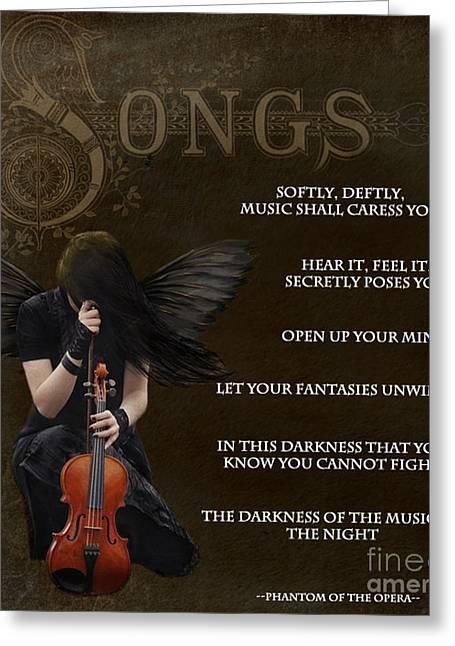 Angel Of Music Greeting Card by Serena Ballard