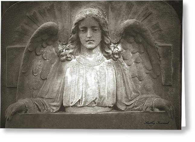 Angel Sitting At Grave  - Guardian Angel  Greeting Card