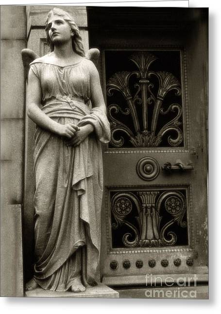 Angel Statue Standing At Mausoleum Door  Greeting Card by Kathy Fornal