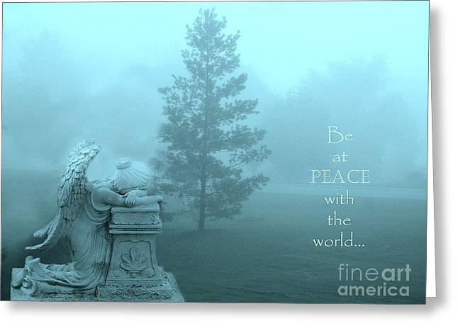 Angel Surreal Dreamy Aqua Teal Nature Inspirational Angel Art Greeting Card by Kathy Fornal