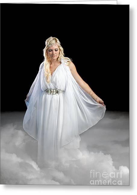 Angel Walking On Clouds Greeting Card by Cindy Singleton