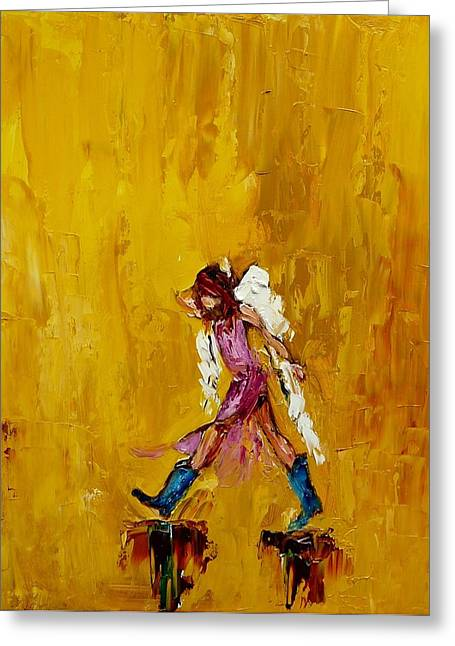 Angel With Cowboy Boots Greeting Card by Judy Mackey