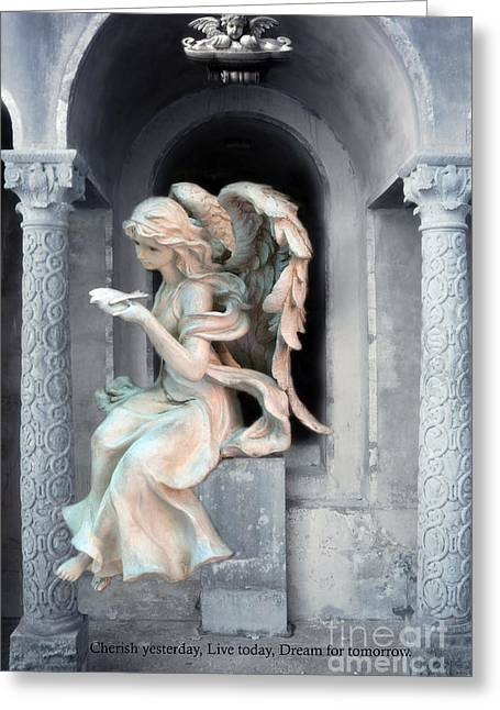 Angel With Dove Of Peace - Beautiful Angel Art Greeting Card