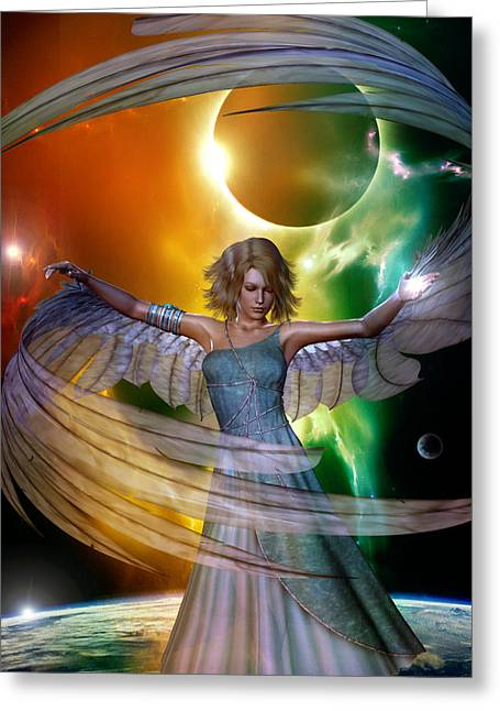 Greeting Card featuring the digital art Angel With No Name by Shadowlea Is