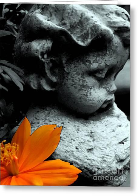 Angel With Orange Flower Greeting Card by Patricia Januszkiewicz