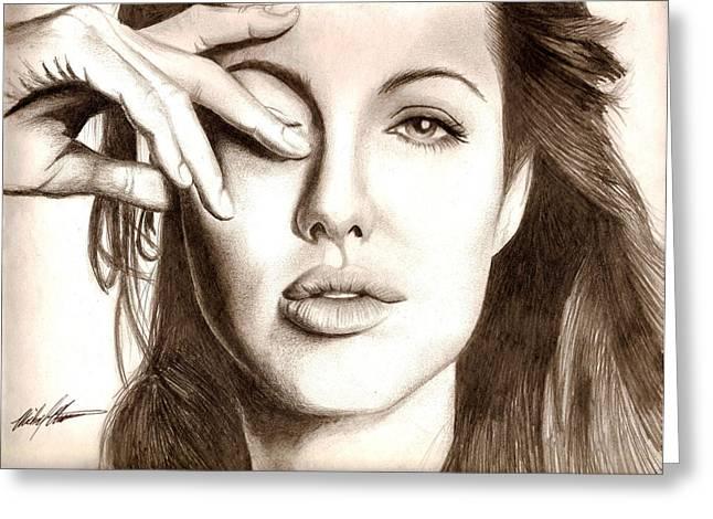Angelina Jolie Greeting Card by Michael Mestas