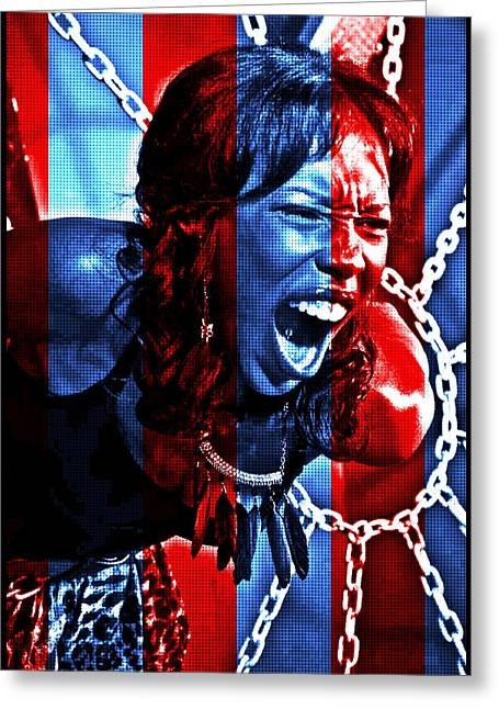 Greeting Card featuring the photograph Anger In Red And Blue by Alice Gipson