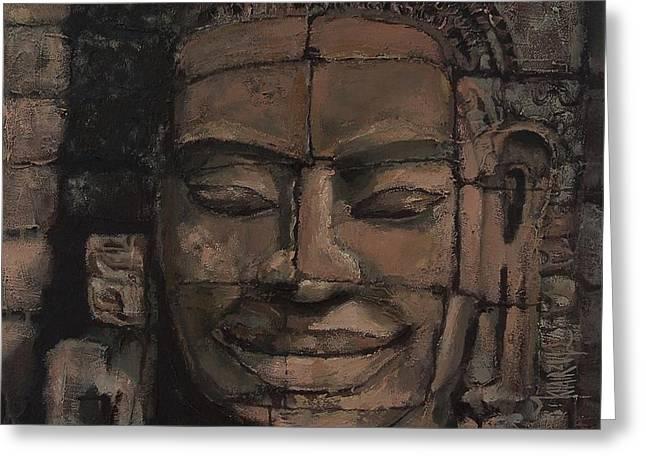 Angkor Smile - Angkor Wat Painting Greeting Card by Khairzul MG