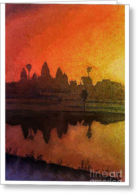 Angkor Sunrise Greeting Card by Ryan Fox