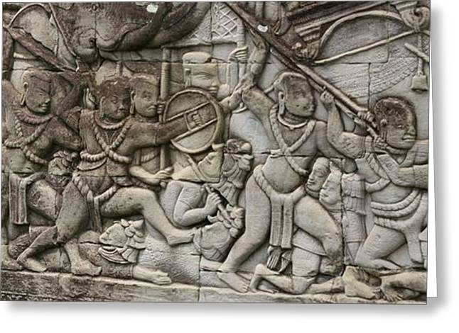 Greeting Card featuring the photograph Angkor Wat - War Scene by Andrei Fried