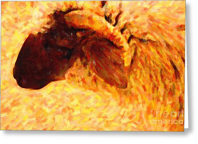 Angora Goat In Abstract Greeting Card by Wingsdomain Art and Photography