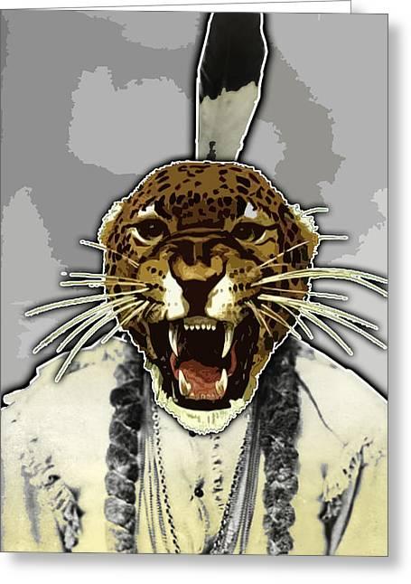 Animal Family 8 Chief Cheeta Greeting Card by Travis Burns