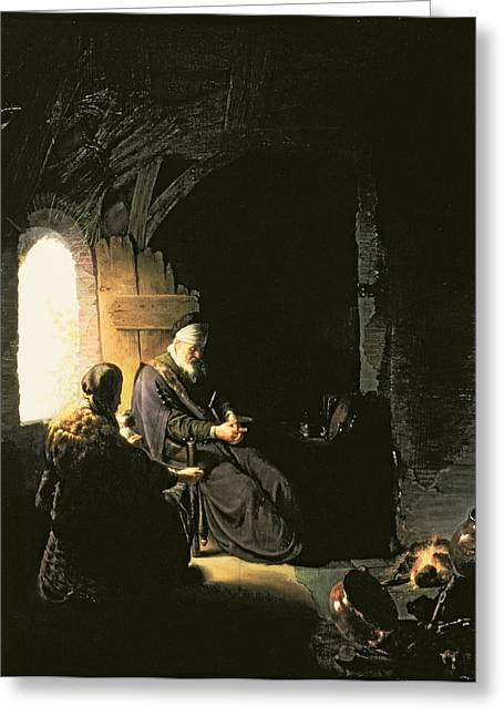 Anna And The Blind Tobit Greeting Card by Rembrandt Harmensz van Rijn