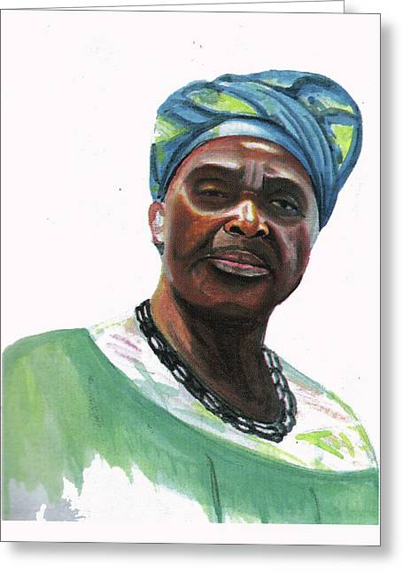 Anne Marie Nzie Greeting Card by Emmanuel Baliyanga