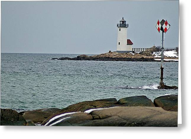 Annisquam Lighthouse Greeting Card by Joe Faherty