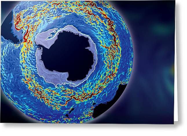 Antarctic Ocean Current, Computer Model Greeting Card