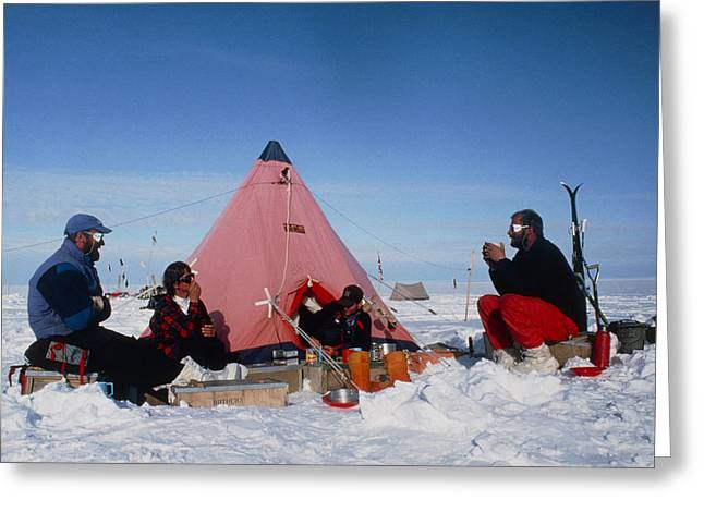 Antarctic Research Team Relaxing Outside Tent Greeting Card by David Vaughan