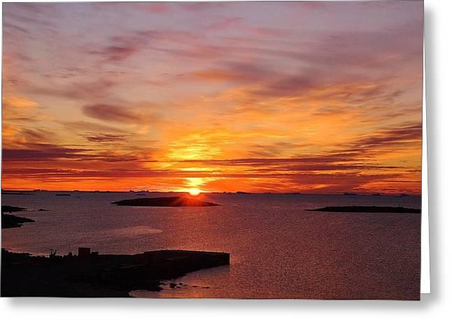Antarctic Sunset 02 Greeting Card by David Barringhaus