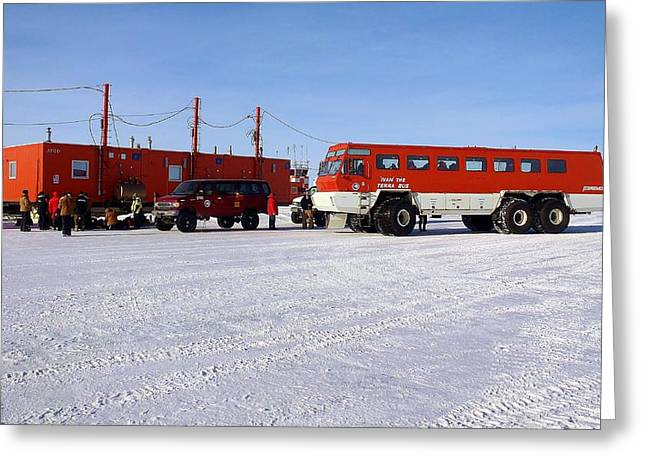 Antarctic Tundra Bus Greeting Card by David Barringhaus