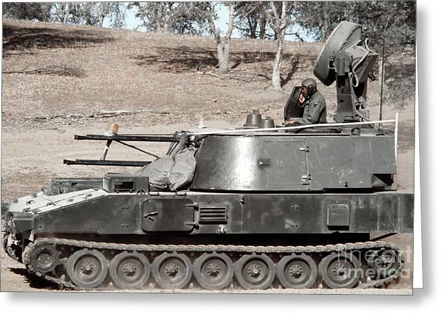 Anti-aircraft Guns Mounted On An M109 Greeting Card by Stocktrek Images