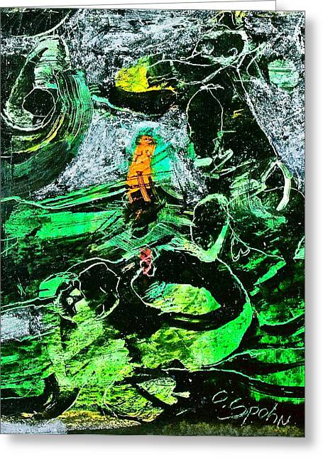 Antibodies In Another Green World Greeting Card by Cliff Spohn