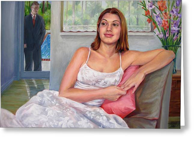 Greeting Card featuring the painting Anticipation - Jasmin Contemplates The Prom by Nancy Tilles
