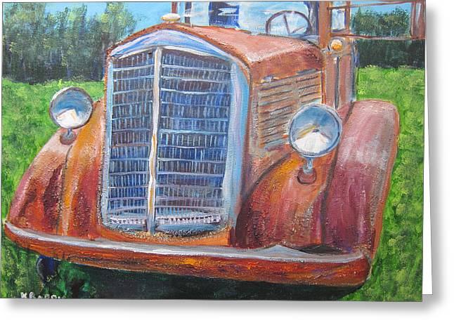 Antique Brockway Truck Portrait Greeting Card