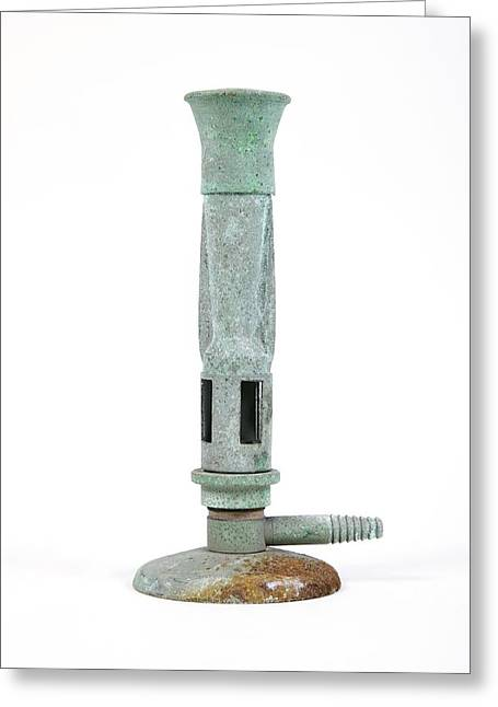 Antique Bunsen Burner Greeting Card by Gregory Davies, Medinet Photographics