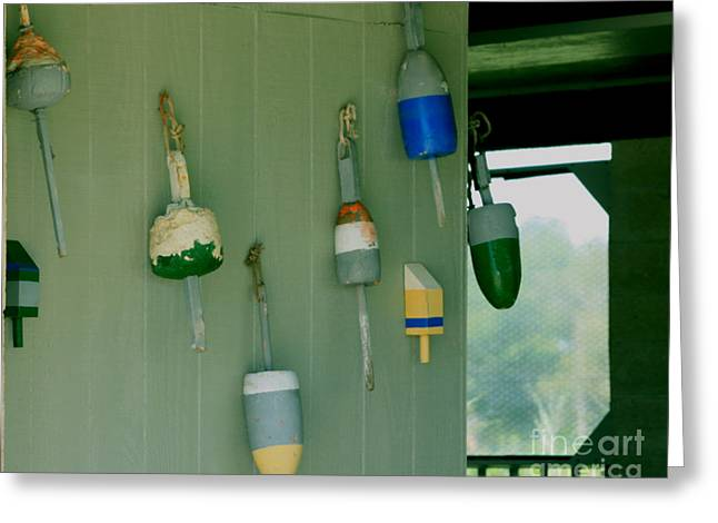 Antique Buoys Greeting Card by Marjorie Imbeau