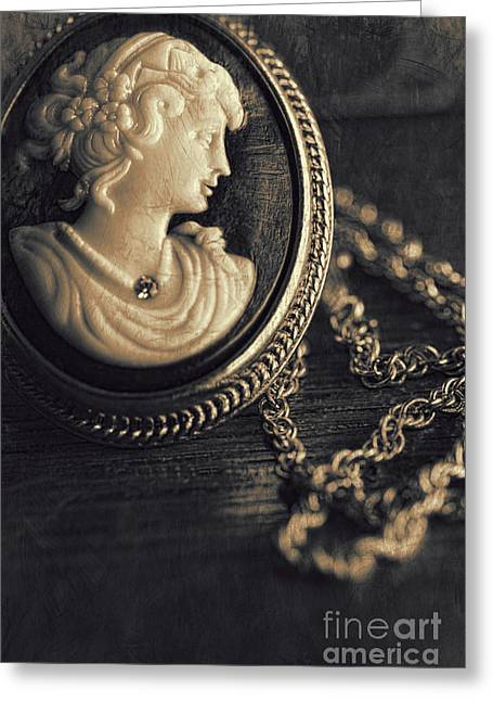 Antique Cameo Medallion On Wood Greeting Card