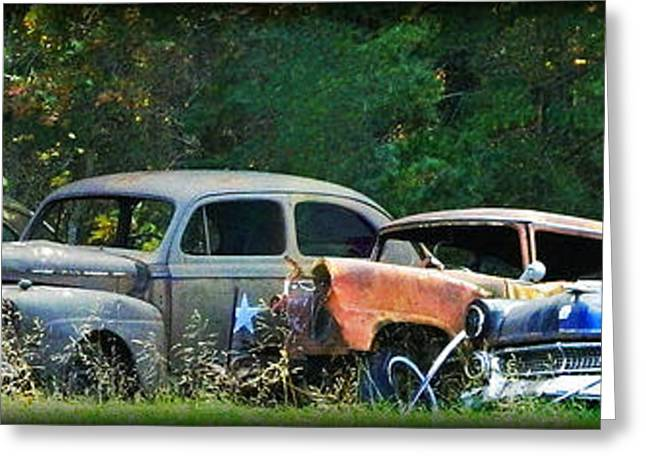 Antique Cars Graveyard Greeting Card