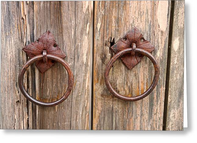 Antique Door Pulls Greeting Card by Carmen Del Valle - Antique Door Pulls Photograph By Carmen Del Valle