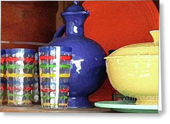 Antique Fiesta Dishes 3 Greeting Card by Marilyn West