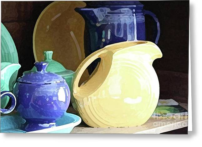 Antique Fiesta Dishes II Greeting Card by Marilyn West