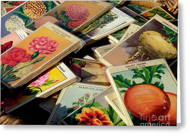 Antique French Seed Packs Greeting Card