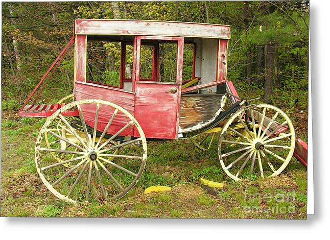 Greeting Card featuring the photograph Old Horse Drawn Carriage by Sherman Perry