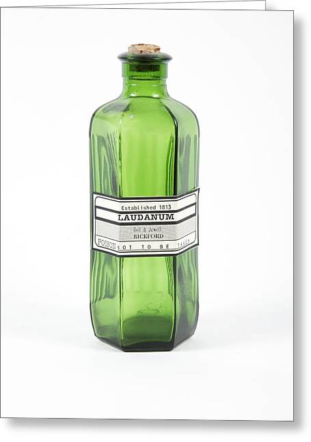 Antique Laudanum Bottle Greeting Card by Gregory Davies, Medinet Photographics