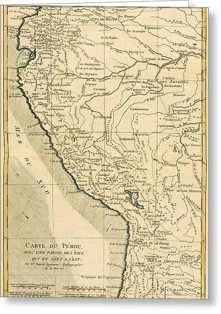 Antique Map Of Peru Greeting Card