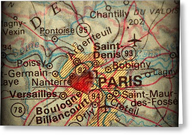 Antique Map With A Heart Over The City Of Paris In France Greeting Card by ELITE IMAGE photography By Chad McDermott